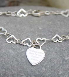 16th birthday Personalised hearts charm bracelet - FREE ENGRAVING