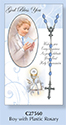 Boy's First Holy Communion card with rosary beads