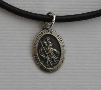 Mens jewellery gift St. Christopher on leather necklace