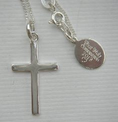 Personalised classic silver cross with engraved tag