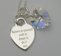 'Believe in yourself' silver jewellery  gift - FREE ENGRAVING