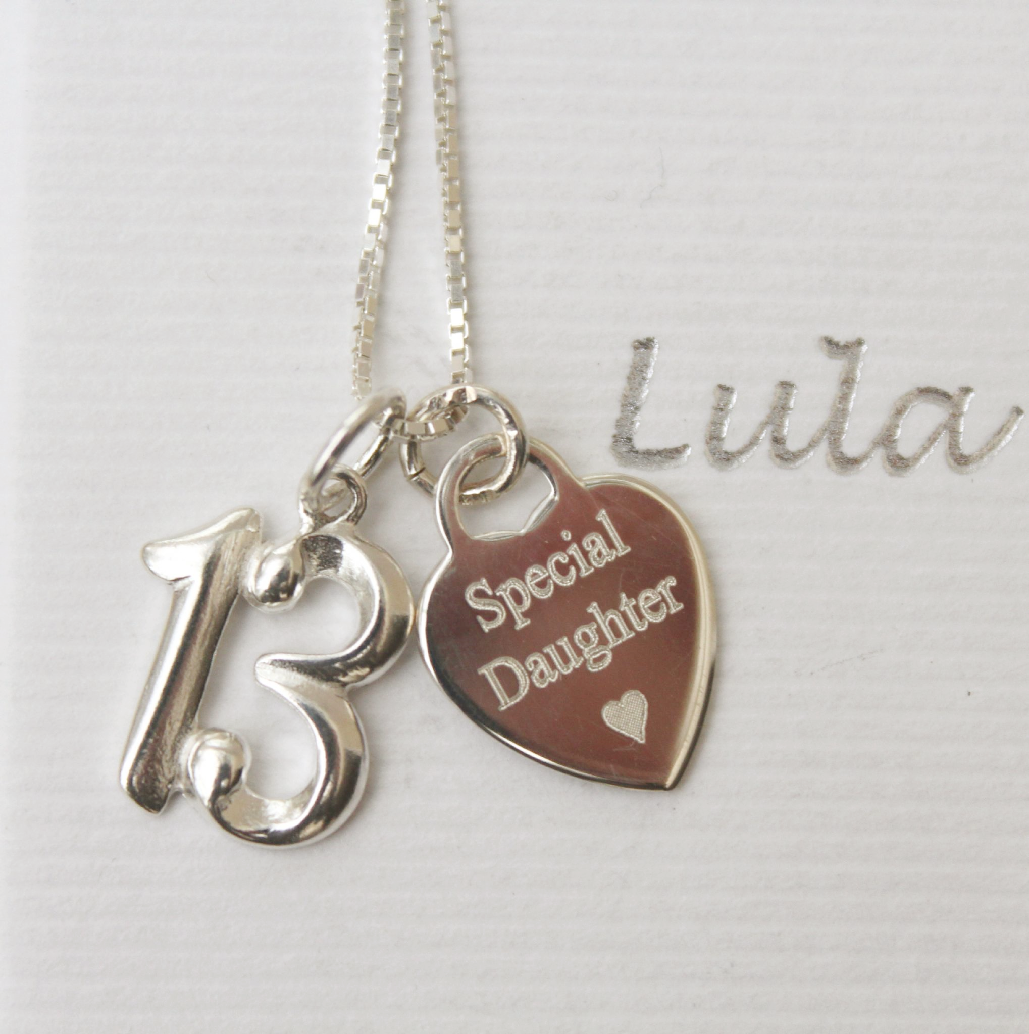 13th Birthday Silver Jewellery Gift For A Daughter Free Engraving 32807 P