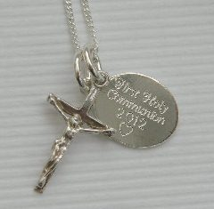 Silver delicate crucifix and personalised tag necklace