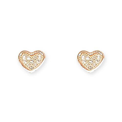 Bridesmaids gift - silver & rose gold cz heart earrrings