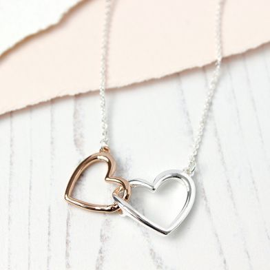 Bridesmaids gift - two hearts necklace