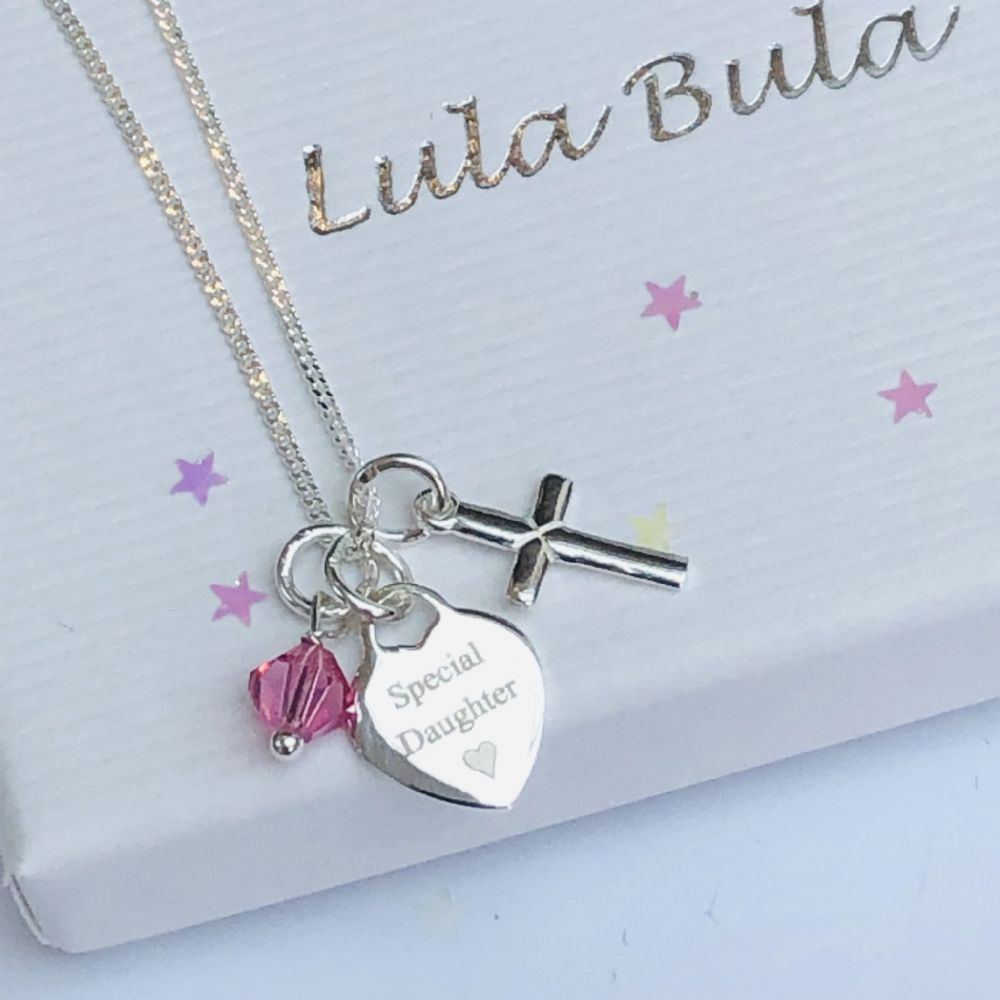 Any Name or date Engraved Christening Necklace with Engraving on Heart Pendant