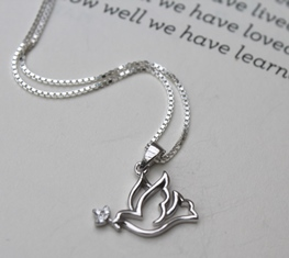 Confirmation gift necklace - silver dove