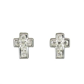 Confirmation gift - silver and cz cross earrings