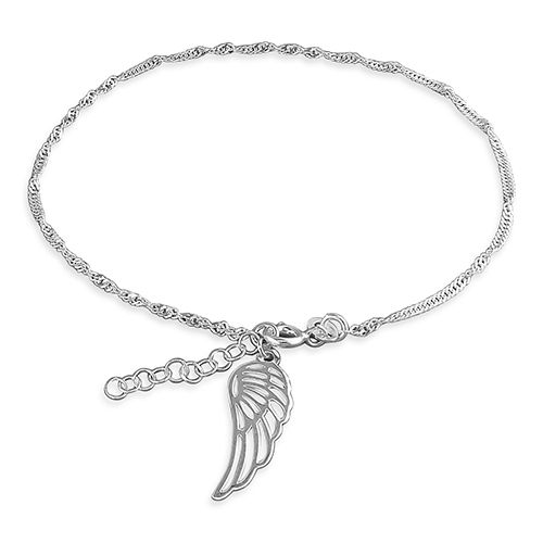 Silver ankle chain - angel wing