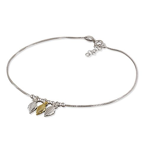Silver ankle chain - feathers
