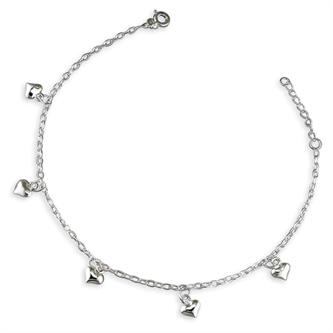 Silver ankle chain - hearts