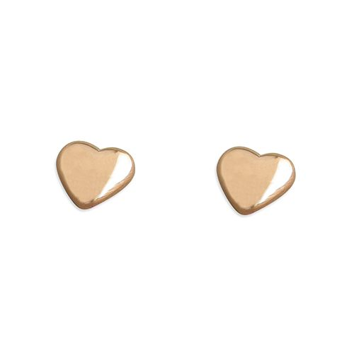 Silver & rose gold heart studs