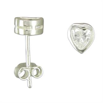 Sterling silver & cz heart earrings