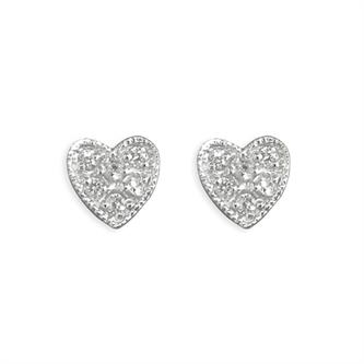 wedding jewellery - silver & cz heart earrings