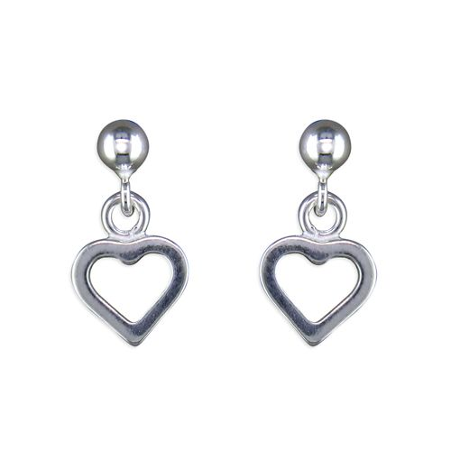 Wedding jewellery - silver drop heart earrings