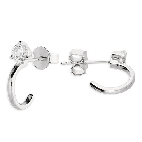 Wedding jewellery - silver hoop earrings with cz stud